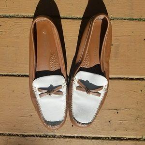 Karen Scott Brown and White Loafers